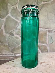 Large Tall Vintage 13 Emerald Green Glass Wire Bale Seal Lock Lid Canister Jar