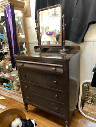Old Antique Mahogany Dresser With Mirror Glass Top 4 Drawer Tall Boy