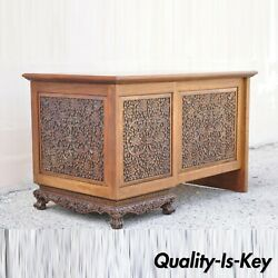 Vintage Chinese Carved Mahogany Pedestal Desk Flowers Birds And Leafy Scrolls