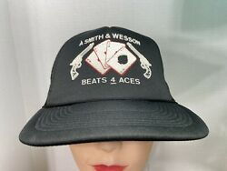 Vintage Smith And Wesson Beats 4 Aces Snap Back Trucker Hat Puff Paint