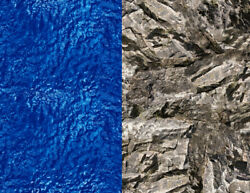 O Scale Gray Rock And Blue Water Model Train Scenery Sheets – 10 Of Each