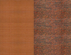 O Scale Calico And Red Brick Combo Model Train Scenery Sheets - 10 Of Each