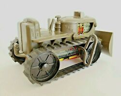 Marx L7-m7 Tin Litho Military Green Wind-up Toy Tractor Dozer Working