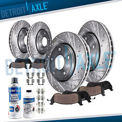 Front And Rear Drilled Rotors + Ceramic Brake Pads For 2008 - 2013 Nissan Rogue