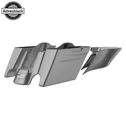 Charcoal Pearl Stretched Extend Saddlebags With Black Pinstripes For 14+ Harley