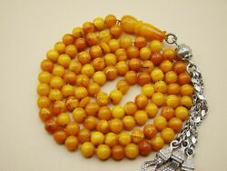 Old Real Antique Rare Natural Amber Necklace / Rosary / Prayer Beads / 27 Grams
