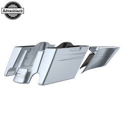Brilliant Silver Stretched Extend Saddlebags With Pinstripes For 2014+ Harley