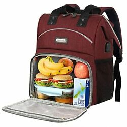 Lunch Backpack for Women Insulated Cooler Lunch Box Backpack with USB Red $51.24