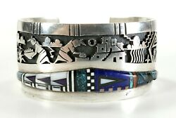 Chalmers Day Hopi Native American Sterling Silver And Stone Inlay Cuff Bracelet