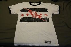 Cm Punk Authentic Wwe Best In The World T-shirt Size S White Ringer Shirt Aew