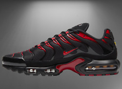 Nike Air Max Plus Shoes Black University Red Cu4864-001 Menand039s Multi Size New