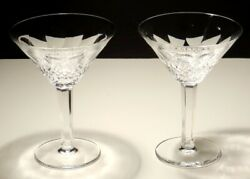 2 Vintage Waterford Crystal Colleen Martini Glasses 6 1/8 Made In Ireland