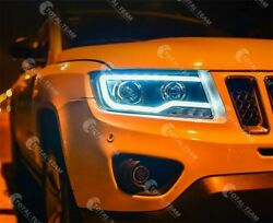 New For Jeep Compass 2011-2017 Led Headlights Assembly Bi-xenon Projector Lamps