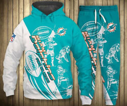 Miami Dolphins Fans Athletic Tracksuit Pullover Zip Hoodie Sweatpants Sweatsuits