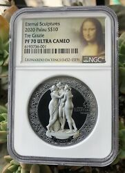 Ngc Pf70 The Three Graces Silver Coin 2oz Palau Eternal Sculpture In Stock