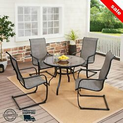 5 Pcs Garden Outdoor Bistro Dining Table And Chairs Patio Rattan Wicker Set