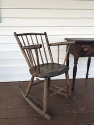 Early Antique American Birdcage Windsor Rocking Chair East Tennessee Estate