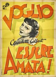 Vintage Claudette Colbert 1935 She Married Her Boss Italy 55x78 Poster Free Ship