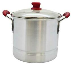 Usa Ruby Red Aluminum Steamer With Glass Lid And Soft Touch Handles 32 Quart