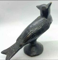 Vintage Rare Oaxaca Black Clay Pottery Bird Whistle Flute - Works Great