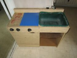 Vintage 1970's Creative Playthings Wood Kitchen, Sink, Stove, Cabinet Ages 3+