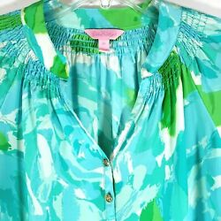 Lilly Pulitzer Xs First Impressions Elsa Top Blouse 100 Silk Poolside Blue Rare