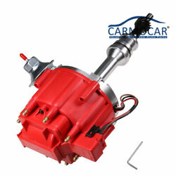 Red Cap Drop In One Wire Hei Distributor W/ 65kv Coil For Sbf Ford 351w Windsor
