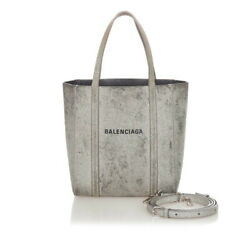 Valenciaga Navy Every Date Tate 551815 Silver Black Leather Shoulder Bag Tot