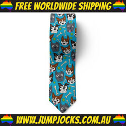 Blue Puppies Neck Tie Novelty Business Dogs *FREE WORLDWIDE SHIPPING*
