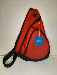 C Port And Company Black Red Zippered Shoulder Gym Duffle Bag Crossbody Backpack
