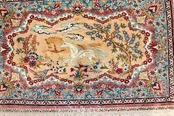 Fine Turkish Signed Hereke Herekeh Ozipek Silk Rug Size 1and0391and039and039x1and0397and039and039
