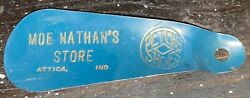 Vintage Advertising Shoehorn Peters Shoes Moe Nathan's Store Attica Indiana
