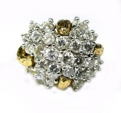Vintage Cluster Cocktail Vs Large Diamonds Ring 2.73ct 14k Yellow Gold Size 4