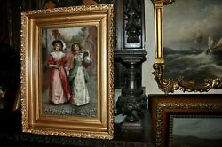 Antique Victorian Sisters Painting Monogramed Eobc Dated 1903