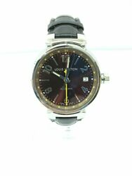 Louis Vuitton Q1131 Rg9474 Automatic Watch Analog Leather Blk Brw Oh Luxury