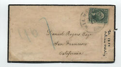 1859 Wilmington De To San Francisco Mourning Cover 32 10ct 1857 [f821.91]