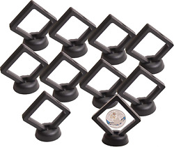 Coin Display Stand - Set Of 10 3d Floating Frame Display Holder With Stands