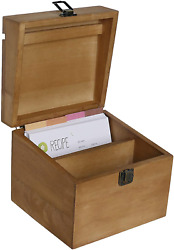 Nikky Home Kitchen Wood Recipe Organization Box With Cards And Dividers, 7.09 X