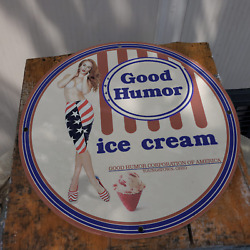 Vintage 1944 Good Humor Ice Cream Corp. Of America Porcelain Gas And Oil Sign