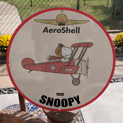 Vintage 1950 Shell Aeroshell Gasoline ''snoopy'' Porcelain Gas And Oil Pump Sign