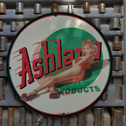 Vintage 1961 The Ashland Oil Products Company Porcelain Gas And Oil Metal Sign