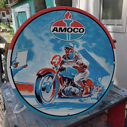 Vintage Amoco American Oil Company Gasoline Porcelain Gas And Oil Pump Sign