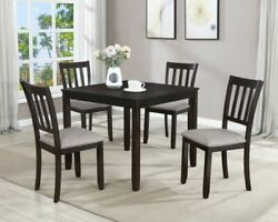 5pc Dining Set Contemporary Style Espresso Finish Table Chair Furniture Durable