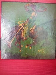 Vintage Cowboy Painting On Wood Plaque, Painting By Brown Illustrator Rare