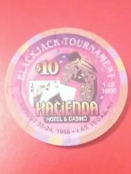 1996 Hacienda Casino Las Vegas Nevada 10.00 Chip Great For Any Collection