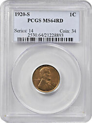 1920-s Lincoln Cent Ms-64 Rd Pcgs Certified