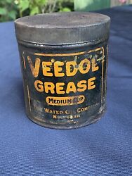 Used Vtg Veedol Grease Tin Medium Cup Advertising Tin Can - Dirty And Greasy -