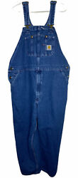 Menandrsquos Washed Denim Zip Fly Blue Bib Overalls Jeans Size 44x28