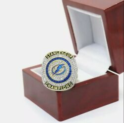 2020 Tampa Bay Lightning Stanley Cup Ring W/ Wooden Display Box Hedman Size 11