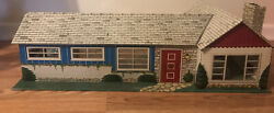 1950s Vintage Marx Tin Litho Metal California Ranch Doll House W Accessories